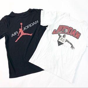 Nike Air Jordan Flight Boys Tee Shirts Lot of 2 L